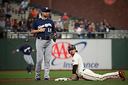 San Francisco Giants left fielder Jarrett Parker (6) steals second base against the Milwaukee Brewers at AT&T Park in San Francisco, California, on August 21, 2017. (Stan Olszewski/Special to S.F. Examiner)