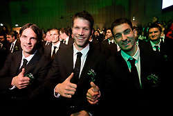 Marko Suler, Bostjan Cesar and Branko Ilic at official presentation of Slovenian National Football team for World Cup 2010 South Africa, on May 21, 2010 in Congress Center Brdo at Kranj, Slovenia. (Photo by Vid Ponikvar / Sportida)