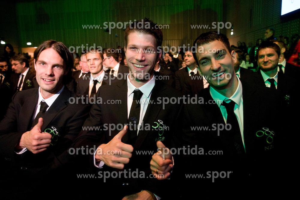 Marko Suler, Bostjan Cesar and Branko Ilic at official presentation of Slovenian National Football team for World Cup 2010 South Africa, on May 21, 2010 in Congress Center Brdo at Kranj, Slovenia. (Photo by Vid Ponikvar / Sportida)