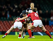 Saki Minami of Barbarians under pressure from Siwan Lillicrap of Wales<br /> <br /> Photographer Simon King/Replay Images<br /> <br /> Friendly - Wales v Barbarians - Saturday 30th November 2019 - Principality Stadium - Cardiff<br /> <br /> World Copyright © Replay Images . All rights reserved. info@replayimages.co.uk - http://replayimages.co.uk