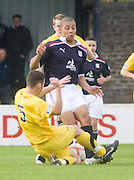 Ayr United's Ross Robertson tackles Dundee's Leighton Mcintosh - Ayr United v Dundee, IRN BRU Scottish Football League First Division at Somerset Park..© David Young.5 Foundry Place.Monifieth.Angus.DD5 4BB.Tel: 07765 252616.email: davidyoungphoto@gmail.com.http://www.davidyoungphoto.co.uk