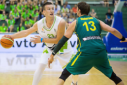 Alen Omic of Slovenia vs David Andersen of Australia during friendly basketball match between National teams of Slovenia and Australia, on August 3, 2015 in Arena Tri lilije, Lasko, Slovenia. Photo by Vid Ponikvar / Sportida