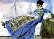 Madame Monet on a Divan' also called 'Madame Money reading Le Figaro', 1872. Oil on canvas.  Pierre-Auguste Renoir (1841-1919) French painter.  Camille Doncieux (d1879) wife of Claude Monet. Portrait Female Blue