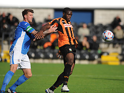 Eatleighs Dean Beckworth pushes Barnets John Akinde of the Ball, Barnet v Eastleigh, Vanarama Conference, Saturday 4th October 2014