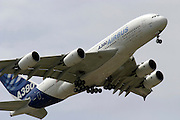Airbus A 380 flying above Le Bourget airport during the Paris airshow, Paris, France.<br /> Client: Bloomberg News