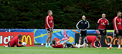 DINARD, FRANCE - Sunday, June 19, 2016: Wales' David Edwards, Sam Vokes, James Chester and David Cotterill during a training session at their base in Dinard as they prepare for the final Group B match against Russia during the UEFA Euro 2016 Championship. (Pic by David Rawcliffe/Propaganda)