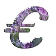 The Euro symbol. Part of a set of letters, Numbers and symbols of 3D Alphabet made with a floral image on white background