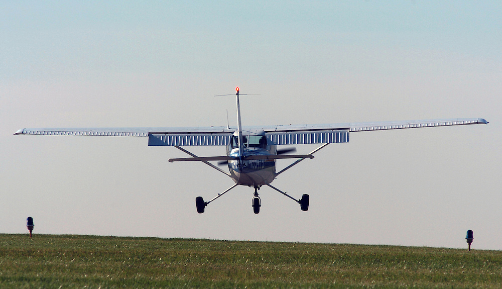 Kent State University's Precision Flight Team received the prestigious Loening Trophy, a perpetual trophy presented annually to the outstanding all-around collegiate aviation program in the nation.  Here, a student practices landings at the Kent State University Airport.