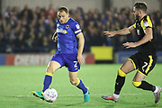 AFC Wimbledon defender Barry Fuller (2) clearing the ball during the EFL Sky Bet League 1 match between AFC Wimbledon and Rotherham United at the Cherry Red Records Stadium, Kingston, England on 17 October 2017. Photo by Matthew Redman.