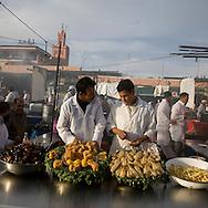 Morocco , Marrakech ,Jama Al Fnaa square in the old city medina