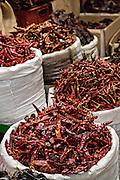 Dried red hot onza, guajillo and cayenne chili pepper at Benito Juarez market in Oaxaca, Mexico.