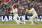 Joe Root of England plays an attacking shot during the International Test Match 2019, fourth test, day three match between England and Australia at Old Trafford, Manchester, England on 6 September 2019.