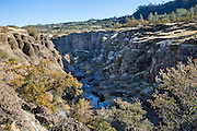 Big Chico Creek Canyon, Upper Bidwell Park, Chico, Butte County, California, USA. Land donation by Annie Bidwell (widow of Chico's founder, John Bidwell) began the park in 1905. Today Bidwell Park is the third largest municipal park in California, stretching nearly 11 miles (18 km) along Big Chico Creek; Upper Park is in the foothills of the southernmost Cascades. Rock formations include the unique Chico Formation sandstone and Lovejoy Basalt rocks.