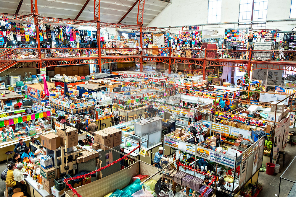 View looking down on the vast Mercado Hidalgo, a public market inside a former train station in the historic center of Guanajuato City, Guanajuato, Mexico.