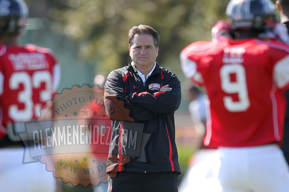 Head coach and former NFL coach Steve Mariucci looks on during the practice session at the Walt Disney Wide World of Sports Complex in preparation for the Under Armour All-America high school football game on December 3, 2011 in Lake Buena Vista, Florida. (AP Photo/Alex Menendez)