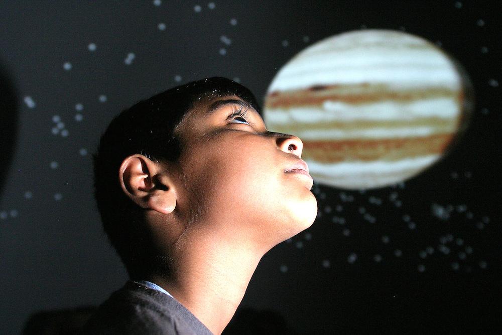 17/05/07 SW. Cashmere School student Adarsh Kota, 9, inside the Carter Observatory mobile dome..Photo: Crispin Anderlini