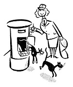 (Two black cats jumping out of a post box surprising a postwoman)