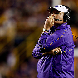 November 10, 2012; Baton Rouge, LA, USA;  LSU Tigers head coach Les Miles against the Mississippi State Bulldogs during the second half of a game at Tiger Stadium.  LSU defeated Mississippi State 37-17. Mandatory Credit: Derick E. Hingle-US PRESSWIRE