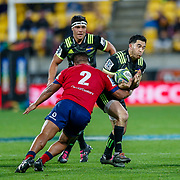 Nehe Milner-Skudder tackled by Brandon Paenga-Amosa during the Super rugby union game (Round 14) played between Hurricanes v Reds, on 18 May 2018, at Westpac Stadium, Wellington, New  Zealand.    Hurricanes won 38-34.