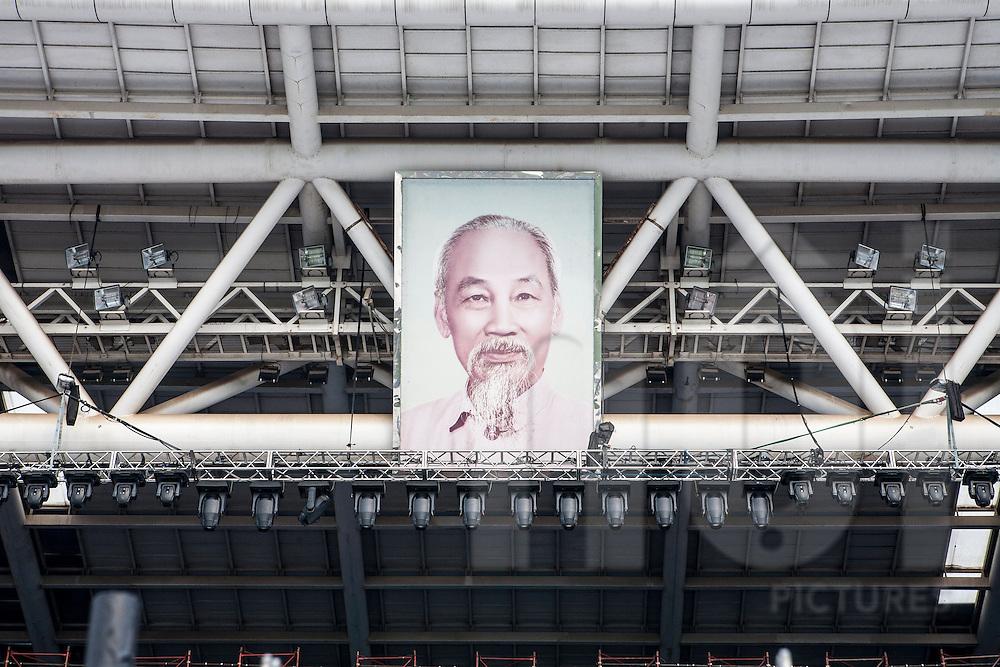Ho Chi Minh leader portrait. 8,9,10 october 2010. My Dinh Stadium, Hanoi, Vietnam..Hanoi / Thang Long 1000 years anniversary.