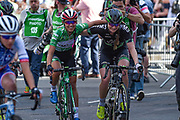 Katarzyna Niewiadoma (POL) riding for WM3 Pro Cycling congratulated by her team mate on becoming the overall winner of the  OVO Energy Women's Tour, London Stage, at Regent Street, London, United Kingdom on 11 June 2017. Photo by Martin Cole.