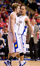 February 27, 2010; San Jose, CA, USA;  San Jose State Spartans guard Mac Peterson (33) and guard Justin Graham (5) celebrate during the second half against the Fresno State Bulldogs at The Event Center.  San Jose State defeated Fresno State 72-45.