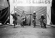 'Bangers Circus' performers on wheels, Ashton Court Festival, Bristol, UK, 1995.