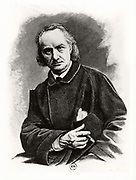 Charles Pierre Baudelaire (1821-1867) French poet, critic and translator.  Engraving after a photograph taken in 1864.
