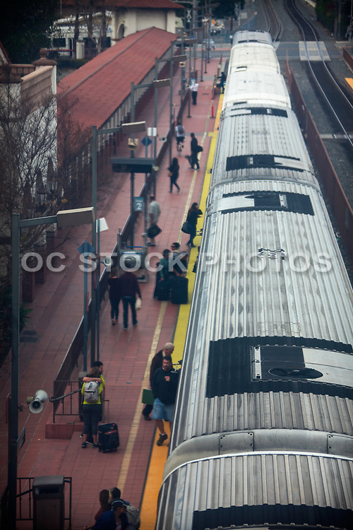 Metrolink Train Stopped At Station Track 2 Dropping Off And Picking Up Passengers
