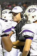 Cedar Ridge head coach Todd Ford reacts after Cedar Ridge's touchdown against Hendrickson in the first half at Hawk Stadium.  LOURDES M SHOAF/Round Rock Leader
