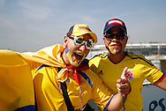 Colombia fans outside the stadium before the 2014 FIFA World Cup last 16 match at Maracana Stadium, Rio de Janeiro, Brazil.<br /> Picture by Andrew Tobin/Focus Images Ltd +44 7710 761829<br /> 28/06/2014