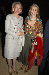Left to right, MRS WINSTON CHURCHILL and The BEGUM INAARA AGA KHAN  at the Cartier Chelsea Flower Show dinat the annual Cartier Flower Show Diner held at The Physics Garden, Chelsea, London on 23rd May 2005.<br />