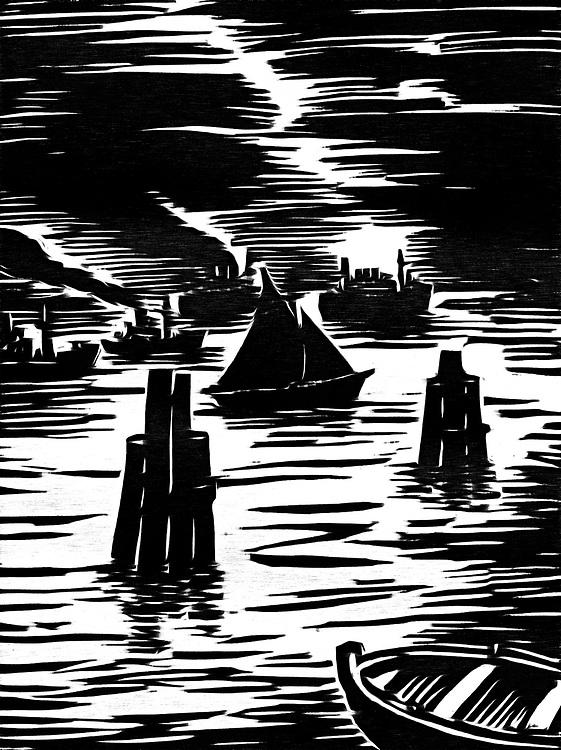 black / white impression of Ships at the harbor entrance