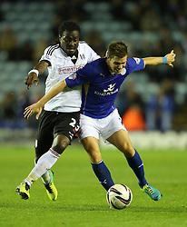 Leicester City's Dean Hammond battles Fulham's Derek Boateng - Photo mandatory by-line: Matt Bunn/JMP - Tel: Mobile: 07966 386802 29/10/2013 - SPORT - FOOTBALL - King Power Stadium - Leicester City - Leicester City v Fulham - Capital One Cup - Forth Round