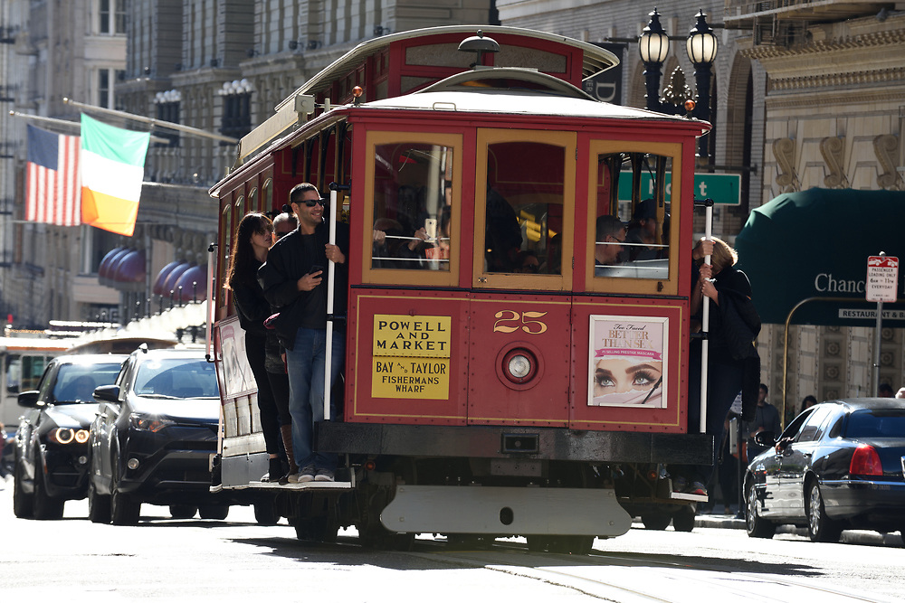 A cable car in San Francisco, California on November 18'th, 2017.  San Francisco's Municipal Railway has assembled one of the most diverse collections of vintage streetcars, trolleys, and trams in transit service.Photo by Gili Yaari