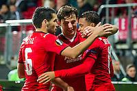 ALKMAAR - 26-11-15, Europa League, AZ  - FK Partizan, AFAS Stadion, 1-2, AZ speler Celso Ortiz, AZ speler Joris van Overeem, AZ speler Dabney dos Santos Souza scoorde de 1-0.