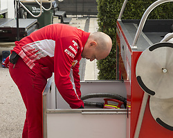 October 21, 2018 - Austin, USA - A member of the Scuderia Ferrari team sorts tools and supplies before the start of the Formula 1 U.S. Grand Prix at the Circuit of the Americas in Austin, Texas on Sunday, Oct. 21, 2018. (Credit Image: © Scott Coleman/ZUMA Wire)