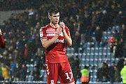 Paddy McNair (17) of Middlesbrough applauds the travelling fans at full time during the EFL Sky Bet Championship match between Queens Park Rangers and Middlesbrough at the Kiyan Prince Foundation Stadium, London, England on 9 November 2019.
