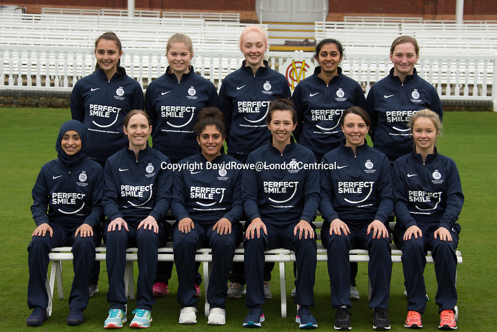 11 April 2018, London, UK. Middlesex County Cricket Club womens squad picture. for the 2018 season . David Rowe/ Alamy Live News