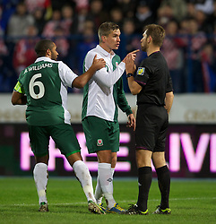 OSIJEK, CROATIA - Tuesday, October 16, 2012: Wales' Steve Morison argues with referee Alexandru Dan Tudor during the Brazil 2014 FIFA World Cup Qualifying Group A match against Croatia at the Stadion Gradski Vrt. (Pic by David Rawcliffe/Propaganda)