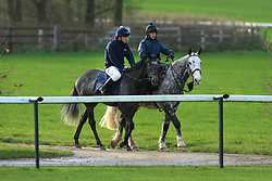 23rd November 2017 - Michael Owen Horse Racing - Former footballer Michael Owen (L) takes to the gallops alongside retain jockey Richard Kingscote at Manor House Stables in Cheshire ahead of his first ever race as a jockey - Photo: Simon Stacpoole / Offside.