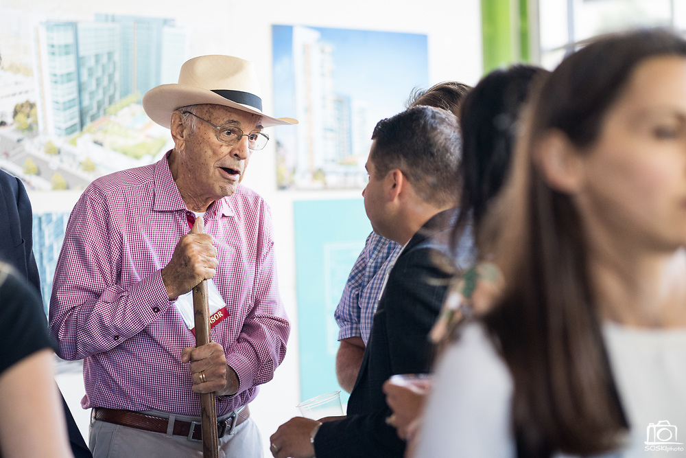 Barry Swenson of SWENSON talks with others during SVBJ's BizMix presented by SWENSON at The Grad in Downtown San Jose, California, on July 31, 2019. (Stan Olszewski for Silicon Valley Business Journal)