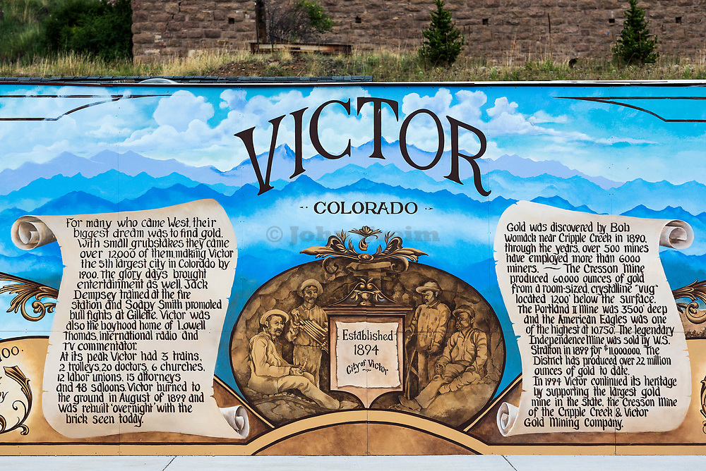 Historic mural, Victor, Colorado, USA.