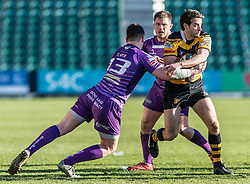 Newports' Elliot Frewen is tackled by Ebbw Vales' James Lewis.<br /> <br /> Photographer Simon Latham/Replay Images<br /> <br /> Principality Premiership - Newport v Ebbw Vale - Sunday 4th February 2018 - Rodney Parade - Newport<br /> <br /> World Copyright © Replay Images . All rights reserved. info@replayimages.co.uk - http://replayimages.co.uk
