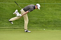 June 22, 2018 - Cromwell, CT, USA - Zach Johnson sweeps away sand from the bunker on the 18th green during the second round of the Travelers Championship at TPC River Highlands in Cromwell, Conn., on Friday, June 22, 2018. (Credit Image: © John Woike/TNS via ZUMA Wire)