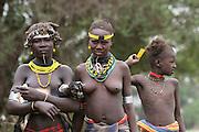 Africa, Ethiopia, Omo Valley, Daasanach tribe women