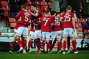Kayden Jackson of Wrexham is congratulated by Rob Evans of Wrexham after scoring during the Vanarama National League match between Wrexham AFC and Kidderminster Harriers at the Glyndŵr University Racecourse Stadium, Wrexham, United Kingdom on 23 February 2016. Photo by Mike Sheridan.