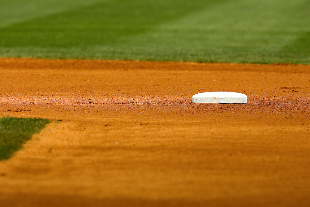 2nd base on a baseball field during a game
