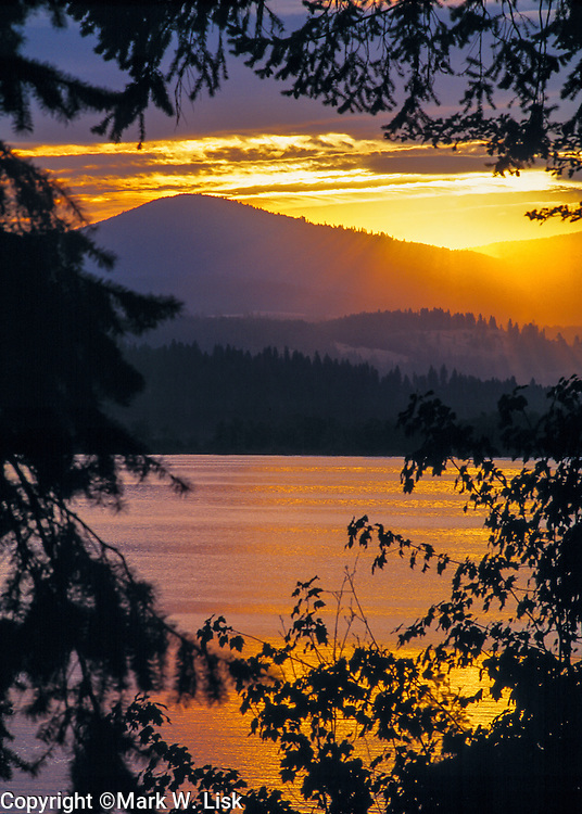 Sunset over Lake Chatcolet in Heyburn State Park, Idaho
