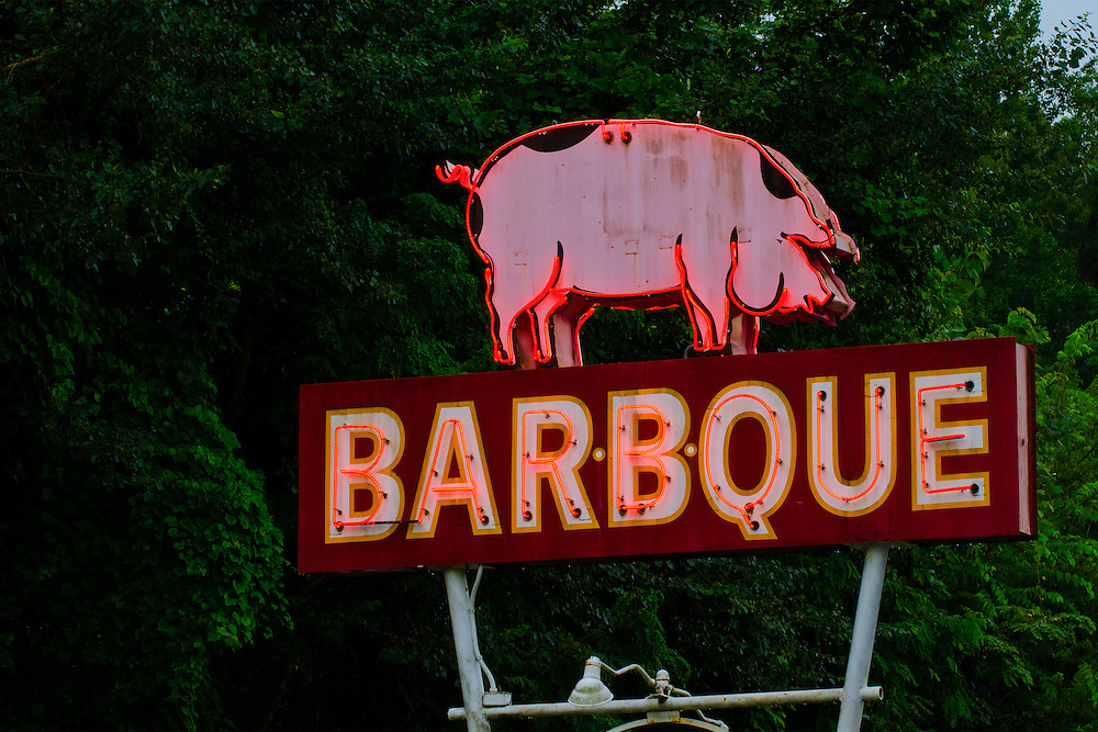 BARBQUE neon sign Bryson City, North Carolina